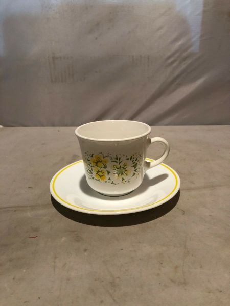 Vintage Corning ware Coffee Cup Mug Saucer Sunflower Yellow Milk Glass Corelle$6.00